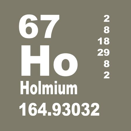 Holmium is a chemical element with symbol Ho and atomic number 67.
