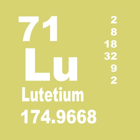 Lutetium is a chemical element with symbol Lu and atomic number 71. Stock Photo