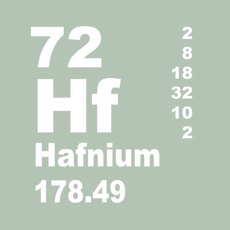 Hafnium is a chemical element with symbol Hf and atomic number 72.