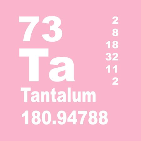Tantalum is a chemical element with symbol Ta and atomic number 73.