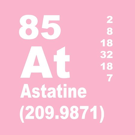Astatine is a very rare radioactive chemical element with the chemical symbol At and atomic number 85. Stock Photo