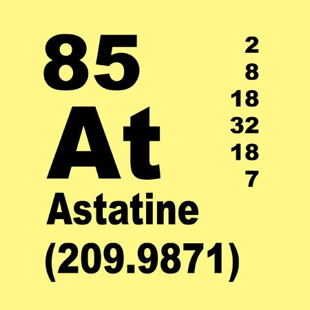 Astatine is a very rare radioactive chemical element with the chemical symbol At and atomic number 85. Stockfoto