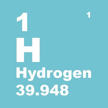 Wasserstoff ist ein chemisches Element mit dem chemischen Symbol H und der Ordnungszahl 1. Standard-Bild