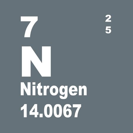Nitrogen is a chemical element with symbol N and atomic number 7. Stock Photo