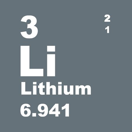 Lithium is a chemical element with symbol Li and atomic number 3. Stock Photo