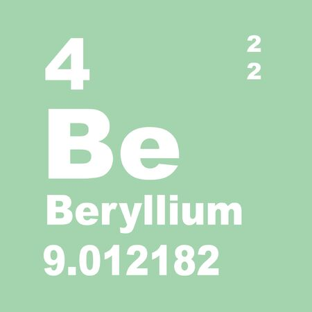 Beryllium is a chemical element with symbol Be and atomic number 4.
