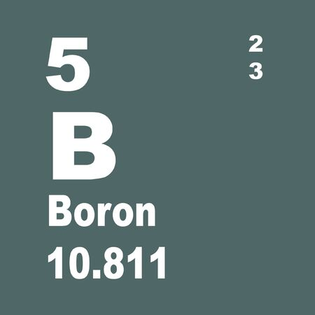 Boron is a chemical element with symbol B and atomic number 5.