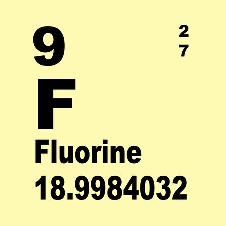 Fluorine is a chemical element with symbol F and atomic number 9
