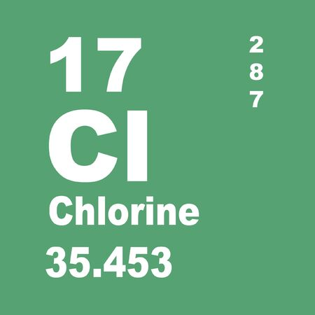Chlorine is a chemical element with symbol Cl and atomic number 17 Stock fotó