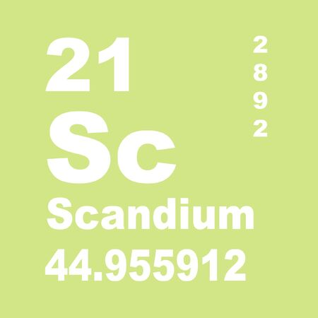Scandium is a chemical element with symbol Sc and atomic number 21.