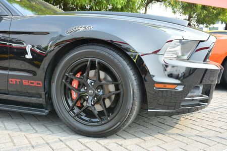 PASAY, PH - DEC. 7: Ford Mustang Cobra wheel at Bumper to Bumper 15 car show on December 7, 2019 in Mall of Asia Concert Grounds, Pasay, Philippines.