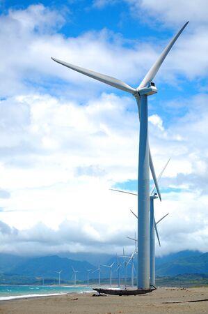 Bangui Wind Farm windmills in Ilocos Norte, Philippines