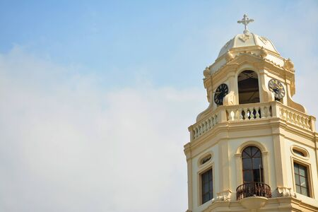 MANILA, PH - OCT. 5: Minor Basilica of the Black Nazarene or also known as Quiapo church bell tower facade on October 5, 2019 in Manila, Philippines.