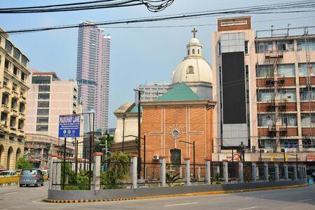 MANILA, PH - OCT. 5: Santa Cruz parish church facade on October 5, 2019 in Manila, Philippines.