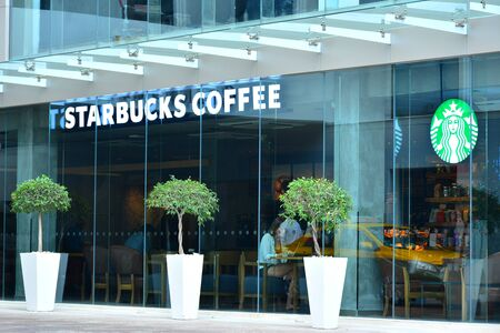 BANGKOK, TH - DEC. 14: Starbucks Coffee facade on December 14, 2016 in Sukhumvit 11, Bangkok, Thailand. Starbucks is an American coffee company and coffeehouse chain. Starbucks was founded in Seattle. Editorial