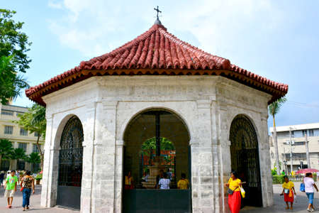 CEBU, PH-OCT. 10: Magellan's Cross facade on October 10, 2016 in Cebu, Philippines. Magellan's Cross is a Christian cross planted by Portuguese and Spanish explorers as ordered by Ferdinand Magellan. Editorial
