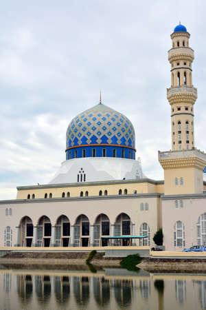 KOTA KINABALU, MY - JUNE 21: Masjid Bandaraya Kota Kinabalu Mosque facade on June 21, 2016 in Kota Kinabalu, Malaysia.