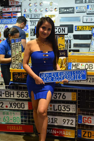 PASAY, PH - JULY 28: Eurovision car accessories female model at Bumper to Bumper prime car show on July 28, 2019 in Pasay, Philippines.