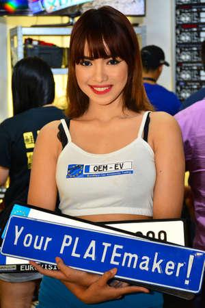 PASAY, PH -NOV 30: Eurovision car plate female model at Manila Auto Salon car show on November 30, 2017 in Pasay, Philippines. Editorial
