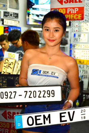 PASAY, PH - MAY 19 - Eurovision female model at Trans Sport Show on May 19, 2018 in Pasay, Philippines.