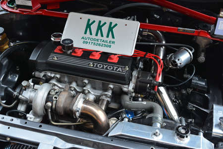 PASAY, PH - MAY 26 - Toyota Corolla motor engine at Toyota carfest on May 26, 2019 in Pasay, Philippines.