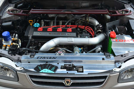 PASAY, PH - MAY 26 - Toyota Corolla engine motor at Toyota carfest on May 26, 2019 in Pasay, Philippines.