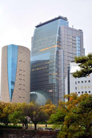 OSAKA, JP - APRIL 8 - NHK Japan Broadcasting Corporation building glass facade on April 8, 2017 in Osaka, Japan. NHK is Japan's national public news organization. 스톡 콘텐츠 - 146065181