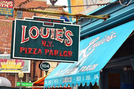 OSAKA, JP - APRIL 7 - Louie pizza parlor sign at Universal Studios Japan on April 7, 2017 in Osaka, Japan.