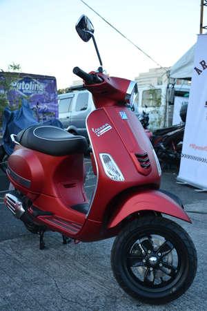 PASIG, PH - MARCH 9 -Vespa scooter motorcycle at Ride Ph motorcycle show on March 9, 2019 in Pasig, Philippines.