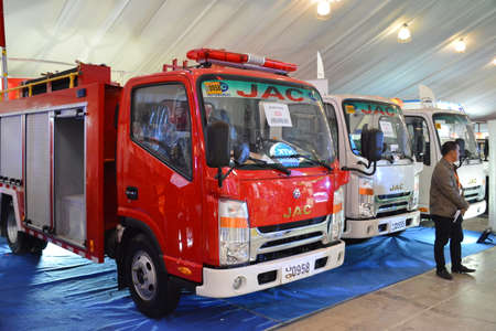 PASAY, PH - APR 7 - Jac trucks at Manila International Auto Show on April 7, 2019 in Pasay, Philippines. 新聞圖片