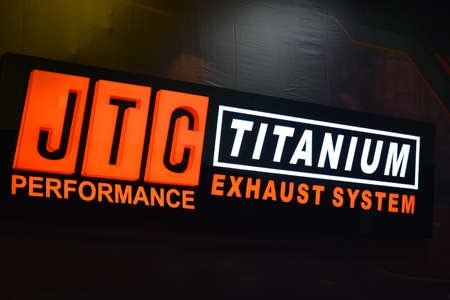 PASAY, PH - APR 7 - JTC performance titanium exhaust system sign at Manila International Auto Show on April 7, 2019 in Pasay, Philippines.