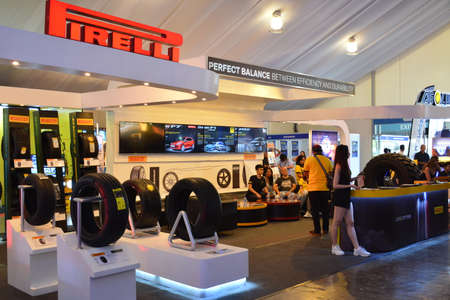 PASAY, PH - APR 7 - Pirelli tires sign and booth at Manila International Auto Show on April 7, 2019 in Pasay, Philippines.