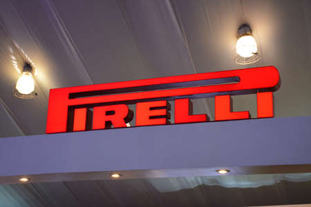 PASAY, PH - APR 7 - Pirelli tires sign at Manila International Auto Show on April 7, 2019 in Pasay, Philippines. 新聞圖片