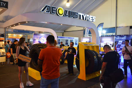 PASAY, PH - APR 7 - Aeolus tyres sign and booth at Manila International Auto Show on April 7, 2019 in Pasay, Philippines.