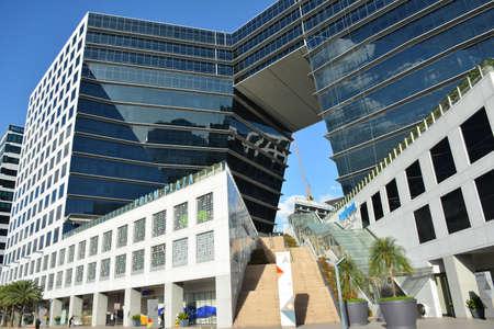 PASAY, PH - DEC. 8 - Two Ecom center building facade on December 8, 2018 in Pasay, Philippines. Redactioneel