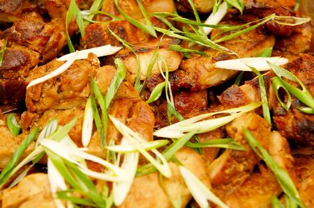 Grilled pork belly food meal with onion leaves