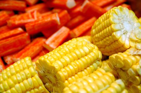 Corn and crab stick ingredients for hot pot soup mix