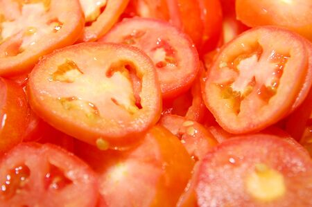 Sliced fresh tomatoes ready for cooking dishes