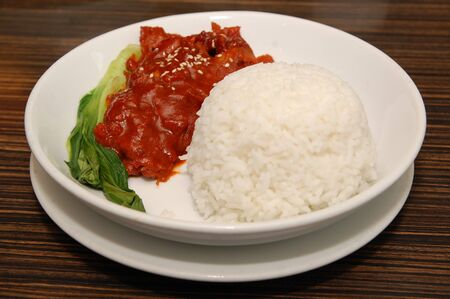 Asado sweet pork with vegetable and rice meal