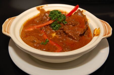 Beef red curry with sauce and bell pepper dish in southeast Asian countries