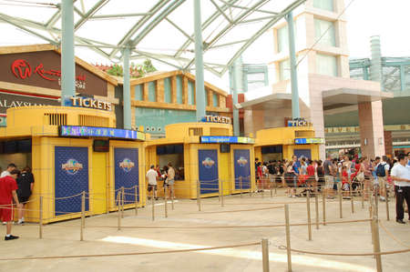 SENTOSA, SG - APRIL 5 - Universal Studios Singapore ticketing booths on April 5, 2012 in Sentosa, Singapore.