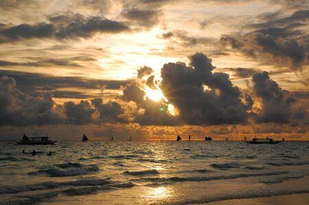 Beach sunset scenery at Boracay island