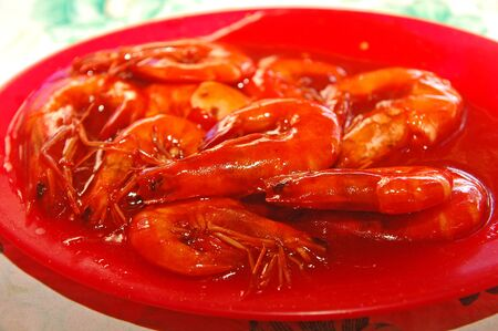 Shrimps with sauce on plate serve in the eatery in Philippines 版權商用圖片