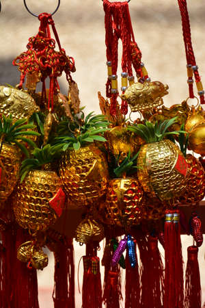 Golden pineapple lucky charm as part of Chinese belief Zdjęcie Seryjne