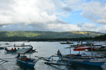 AURORA, PH - APRIL 21 - Motorized wood boats at Dingalan feeder port on April 21, 2019 in Aurora, Philippines.