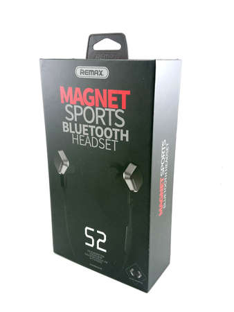 MANILA, PH - SEPT 7 - Remax magnet sports bluetooth headset on September 7, 2020 in Manila, Philippines.