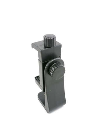 Smartphone black holder attachment for tripod use to record shots with stability Banco de Imagens