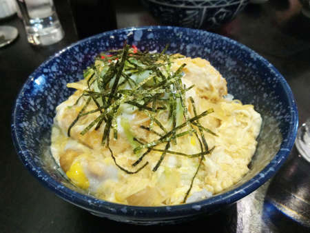 Chicken katsudon with rice place in bowl Japanese cuisine serve in restaurant