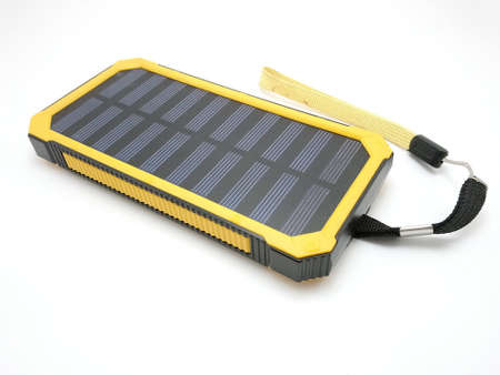 Solar power powerbank charger use to charge low to empty battery of smartphone