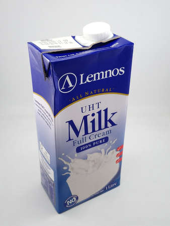 MANILA, PH - OCT 27 - Lemnos all natural uht full cream milk on October 27, 2020 in Manila, Philippines.